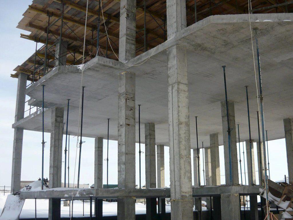 монолитная плита на колоннах